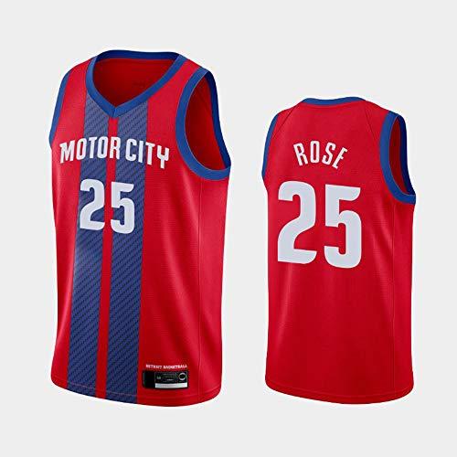 Wo nice Uniformes De Baloncesto De Los Hombres, Detroit Pistons # 25 Derrick Rose Camisetas De Baloncesto De La NBA Suelta Chaleco Deportivo Sin Mangas Camisetas Tops,Rojo,L(175~180CM)