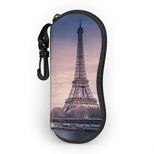 Tzshak Mode Paris Eiffelturm Brillenetui, tragbare Sonnenbrille Soft Case, ultraleichtes Schutzset