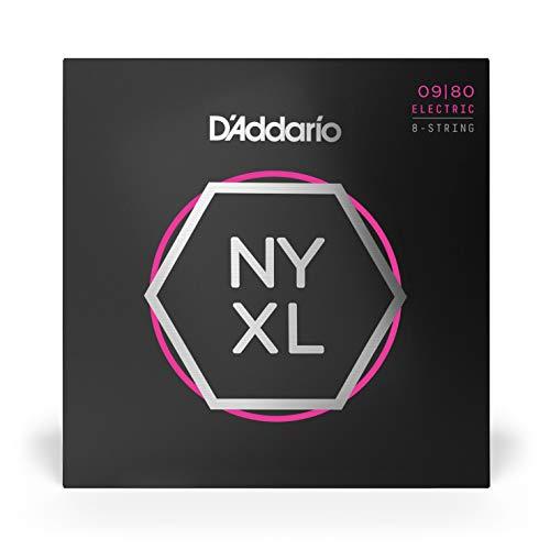 Cuerdas para Guitarra Eléctrica D'Addario NYXL0980 Nickel Wound de 8 Cuerdas, Super Light, 09-80, Package Quantity of 1