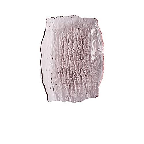 Placas de vidrio para el hogar Estilo nórdico Color creativo Cristal Cena Cuadrado Platos Secado Pastel de fruta Ensalada Agua Ripple Placa Vajilla (Color : Pink)