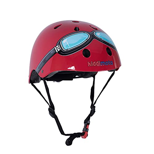 KIDDIMOTO Casco Bicicleta Completamente Ajustabl - Bici Casco para Infantil y Niños para Patinete, Ciclismo, Scooter, Bicicleta de Equilibrio y Monopatin - Gafas Rojas - S (48-53cm)