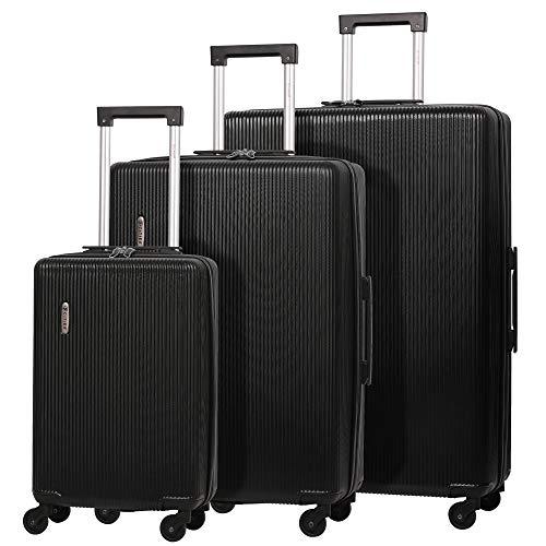 5 Cities 4-Rad Leichtgewicht ABS Hartschale Reisekoffer Gepäck-Set Koffer-Set 3 Teiliges Schwarz