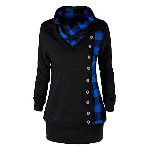 YTJH Rosegal Frauen Groß Größe Pullover Cowl Collar Einreihige langärmliges Kariertes Sweatshirt