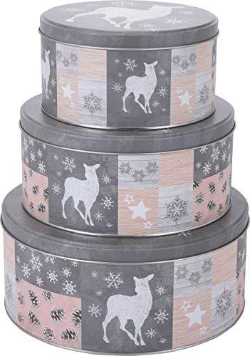 made2trade 3 teiliges Keksdosen Set im Winter Design - Metall - Verschiedene Größen