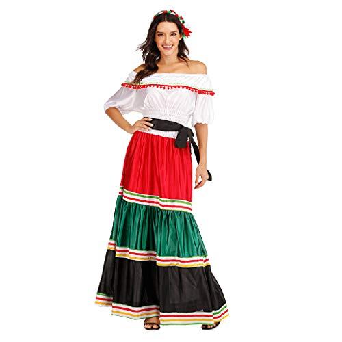 EraSpooky Damen Mexikanerin Senorita Kostüm Faschingskostüme Cosplay Halloween Party Karneval Fastnacht Kleid für Erwachsene