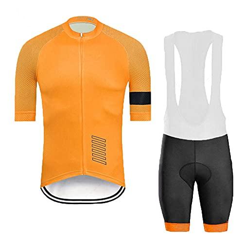 HXTSWGS Conjunto de Trajes de Ciclismo de Manga Corta de Verano para Hombre, Conjunto de Jersey de Ciclismo Transpirable de Secado rápido para Ciclismo Deportivo al Aire libre-A02_XL