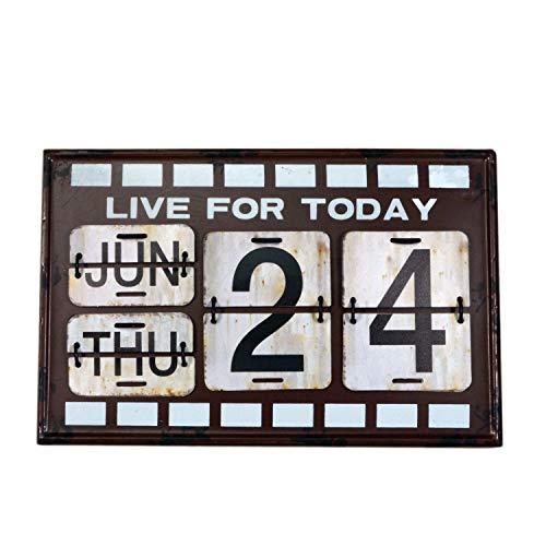 【USA アメリカン デザイン】LIVE カレンダー 日めくり カフェ ガレージ インダストリアル ビンテージ バイカー インテリア 看板 BR ;AVCA-009