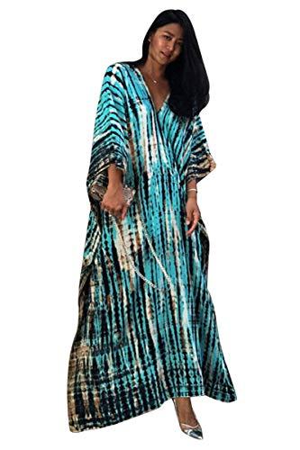 Tunique Longue Femme été Grande Taille Hippie Chic Robe Degrade Caftan Indien Africain Kaftan Long Kimono Ethnique Cache Maillot de Bain Poncho Tie Dye Pareo Plage Bikini Cover Up ZSCPDN0007BU