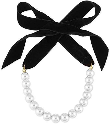 PPQKKYD Collar Punk Elegante Cinta de Terciopelo Negro Perlas de Perlas Gargantilla Pajarita Accesorios Collar Collar joyería gótica Noble Banquete