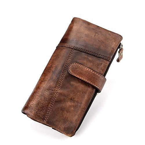 LETEULO RFID Damen Geldbörse aus Leder mit Reißverschluss im Retro-Stil Kaffee