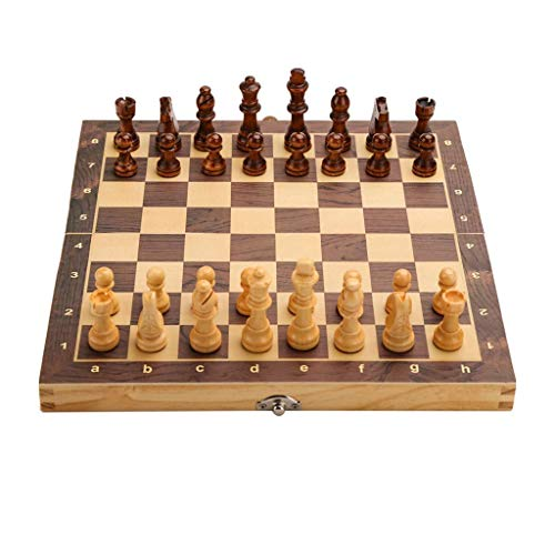 XYSQWZ Juego De Ajedrez Tablero De Ajedrez Juego De Ajedrez Plegable Juego De Tablero De Madera Ajedrez Magnético Hecho A Mano Chessmen Travel International Board Games (tamaño: 24cm)