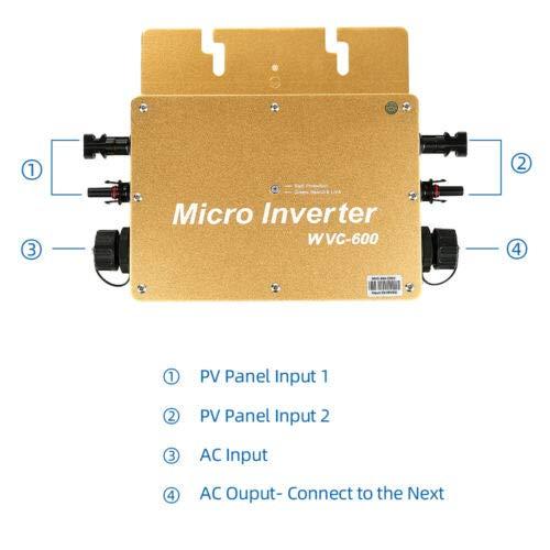 Y&H 600W MPPT wasserdichte Rasterfeld Wechselrichter DC22-50V zu AC230V für 36V Solarpanel Startseite Solarpanel System WGTI-600W-230V-G