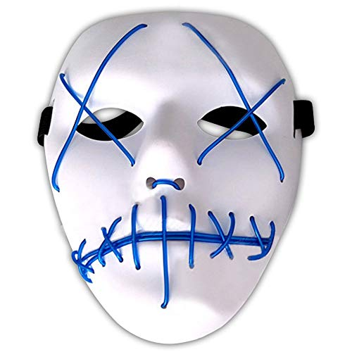 Amasawa LED Light EL Wire Cosplay Maske Ohne Batterie mit 4 Einstellbare Blitzmodi für Halloween Christmas Party Costume Mask Horror (Blau)