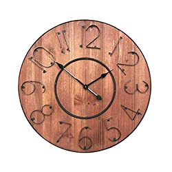 XIAOPING Wooden Retro Wall Clock Living Room Home Clock European-Style Home Scan Motion Creative Wall Clock Living Room Bedroom 60cm X 60cm (Color : B)