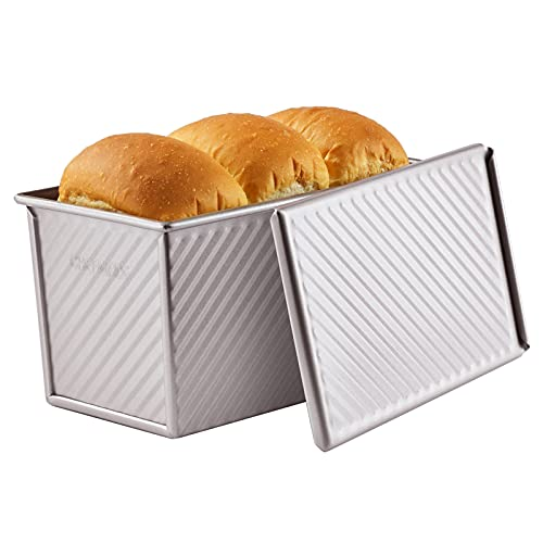 CHEFMADE Pullman Loaf Pan with Lid, 0.99Lb Dough Capacity Non-Stick Rectangle Corrugated Toast Box for Oven Baking 4.2' x 7.7'x 4.4'(Champagne Gold)