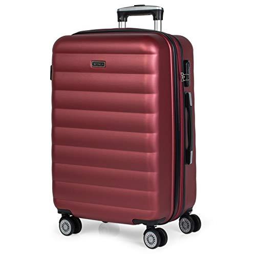 ITACA - Maleta de Viaje rígida 4 Ruedas Mediana Trolley 65 cm de ABS. Dura Extensible Cómoda Práctica y Ligera. Calidad Marca y Precio. Estudiante y Profesional. 71260, Color Granate