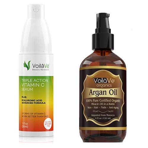 VoilaVe Organic Moroccan Argan Oil for Skin, Hair & Nail & Natural Triple Action Vitamin C Serum for Face - Made in USA - Combo