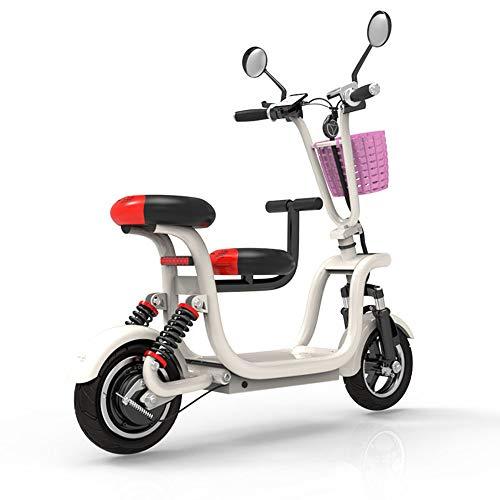 Elektrofahrrad Faltbares, E-Bike Mit kleinem Sitz, Elektrisches Fahrrad mit 580W bürstenlosem Motor und 48V 13AH Lithium-Batterie, Elektronischer Start/Induktionsalarm, Weiß