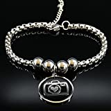 CHWEI Knitted Hat Armbänder Mode Kamera Edelstahl Kette Armband für Frauen Silber Farbe Armbänder...