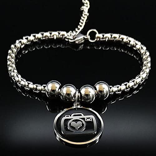 CHWEI Knitted Hat Armbänder Mode Kamera Edelstahl Kette Armband für Frauen Silber Farbe Armbänder Armreifen Schmuck Pulseras Mujer A