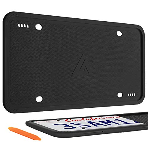 Aujen Silicone License Plate Frames, 2 Pack Car License Plate Cover, Universal US Car Black License Plate Bracket Holder.Rust-Proof, Rattle-Proof, Weather-Proof