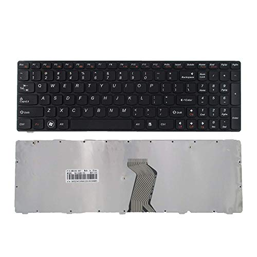 Keyboard Replacement with Frame Compatible with Lenovo Ideapad G580 G580A G585 G585A V580 V585 Z580 Z580A Z585 Z585A N580 N581 N585 N586 Series Laptop Black US Layout