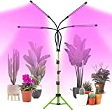 Grow Light with Stand, COOLAPA 80W Four-Head Indoor LED Grow Light , Full Spectrum Plants Lamp with 3/9/12H Timer, 5-Level Dimmable Plant Lights & Tripod Stand Adjustable Gooseneck 15-47In