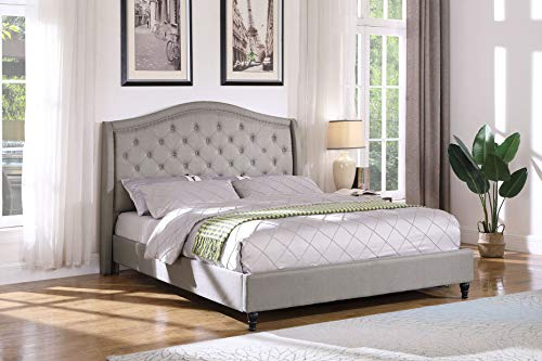 Best Master Furniture Sophie Upholstered Tufted Platform Bed, Grey Cal King California