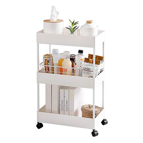 Unidad de estante Estantería metalicas almacenaje Estantería de cubos Estante de Cocina Multi-función Gap estante de almacenamiento piso estante de baño carro estrecho-3