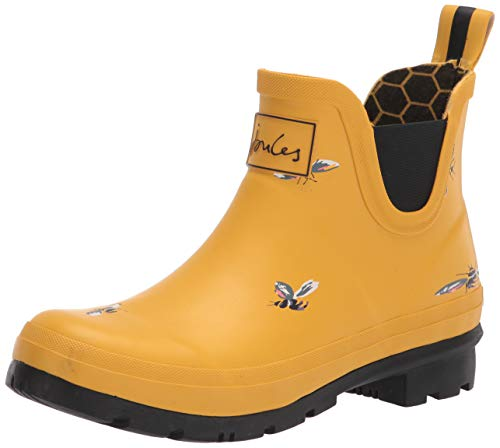 Joules Women's Wellington Welly Boot, Yellow Bees, womens 8