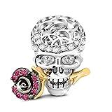 GNOCE 'Cráneo Amor Rosa Abalorio Charms De Mujer De Ley 925 Plata Esterlina Abalorios con Cubic Zirconia para Halloween Compatible con Pulsera o Collar