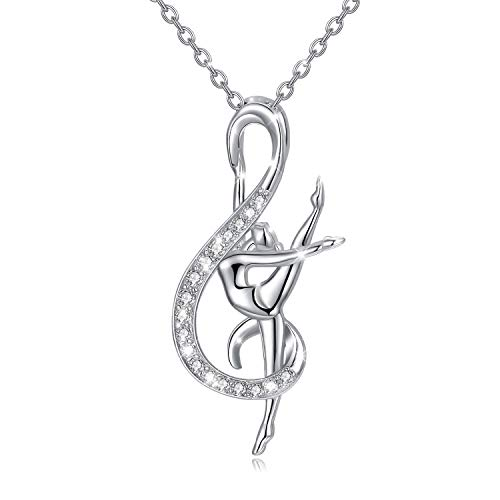 WINNICACA Gymnastics Necklace for Daughter 925 Sterling Silver Music Note Pendant Jewelry Gymnastic Inspirational Jewelry Gymnast Ornament Gifts for Women, Gymnasts, Coaches,Dancer