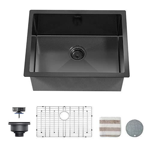 TORVA 25 x 18 Inch Gloss Black Ceramic Coating with NanoTek Undermount Kitchen Sink, 16 Gauge Stainless Steel Wet Bar or Prep Sinks Single Bowl, Black