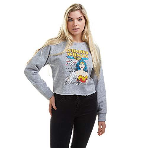 DC Comics Wonder Woman Duo Cropped Sweatshirt Sudadera, Grey Marl, Large para Mujer