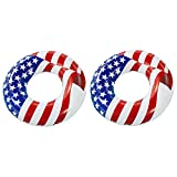 Swimline 36' Inflatable American Flag Swimming Pool and Lake Tube Float (2 Pack)