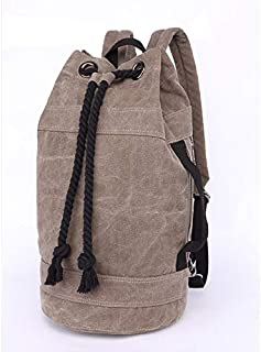 BEESCLOVER New Cotton Canvas Bag with Cylindrical Outdoor Sports Backpack Shoulder Bag 1-M One Size