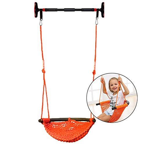 Fauteuil suspendu à suspendre en maille tricotée - Corde en coton tricoté pour chambre d'enfant, arrière-cours, terrasse, 330 kg Orange
