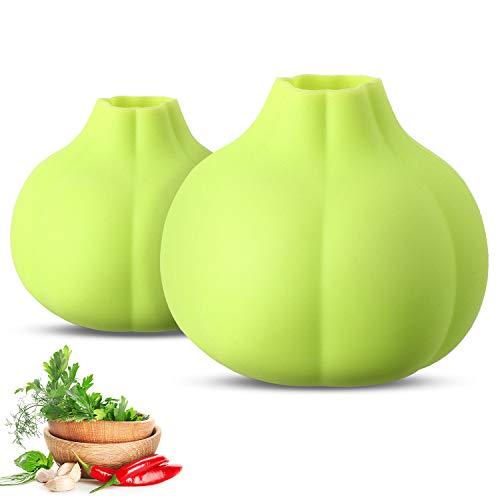 2 Pieces Silicone Garlic Peeler Garlic Skin Remover Keeper Easy Quick to Peel Garlic Cloves NoOdor Useful Kitchen Tool