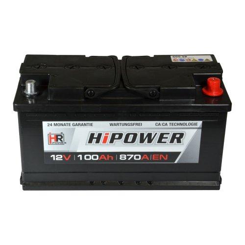 HR HiPower Autobatterie 12V 100Ah ersetzt 88 90 92 95 Ah Starterbatterie KFZ-Batterie