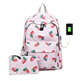 BSTOB Fashion Pink Strawberry Backpack, GodBank Store Fashion Pink Strawberry...