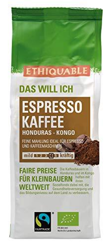 ETHIQUABLE Bio Fairer Espresso Kaffee 100% Arabica (gemahlen), 6 x 250g