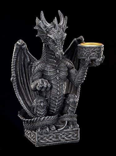 Kleiner Drachen Kerzenständer | Gothic Kerzenhalter schwarz Drachenfigur Figur