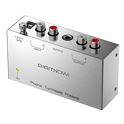 DIGITNOW Phono Turntable Preamp - Mini Electronic Audio Stereo Phonograph Preamplifier with RCA Input, RCA/TRS Output,Low Noise Operation,with 12 Volt DC Adapter (PP400)