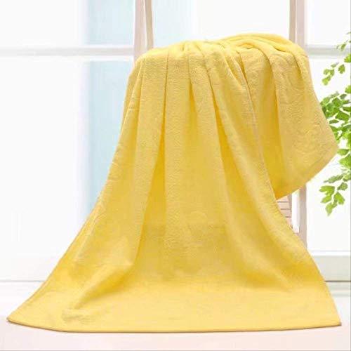 Toalla de baño algodón 70*140 ducha suave absorbente y engrosada amarillo de la toalla