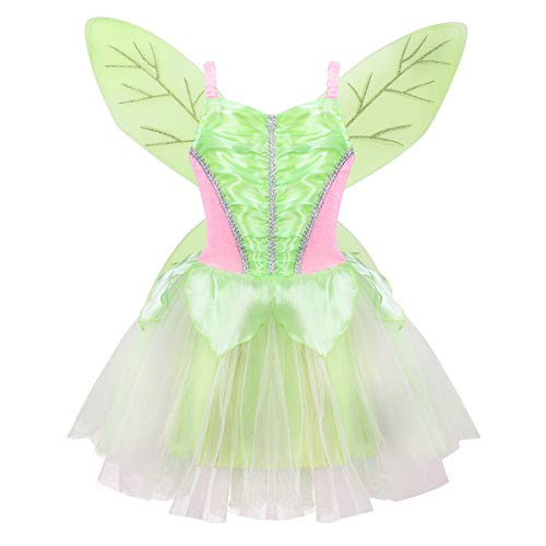 TiaoBug Girls Neverland Fairy Princess Costume Dress Green Classic Wings Wand for Halloween Book Day Fancy Party Cosplay Green Fairy 2-4