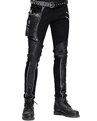 Devil FASHION HOMBRE dieselpunk Pantalones Vaqueros Negro Gótico Punk Piel Sintética Hip Bolso - Negro, Small