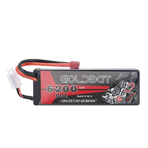 GOLDBAT RC batería 6200 mAh batería Lipo 7.4V 80C 2S con Conector Hembra T batería de Repuesto para RC Coche avión helicóptero Barco Buggy camión etc. (1 Paquete) …