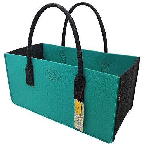 RAIKOU Bolso de Fieltro - Bolsa para leña de Fieltro, Bolsa de Compras, Cesta para la Colada, Bolso para Chimenea, Cesta de Picnic(Verde Mar/Antracita,50x25x25cm)