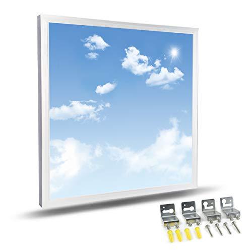 HOMEDEMO LED Panel Sternenhimmel Deckenlampe mit Himmel und Wolken Muster 60x60cm Ultraslim Modern 40W Kaltweiß 9500K Wohnzimmer Lampe mit Befestigungsmaterial und Trafo Weißrahmen