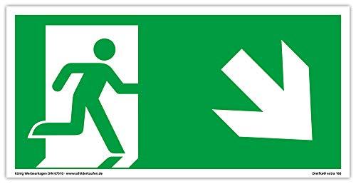 Schild Notausgang | extra langnachleuchtend | PVC selbstklebend 297x148mm | gemäß ASR A1.3 DIN 7010 DIN 67510 | Notausgangsschild rechts schräg abwärts | Fluchtweg Rettungsweg | Dreifke® extra 160